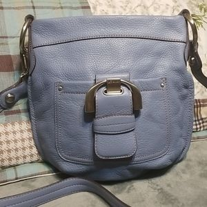 B Makovsky blue crossbody bag leather